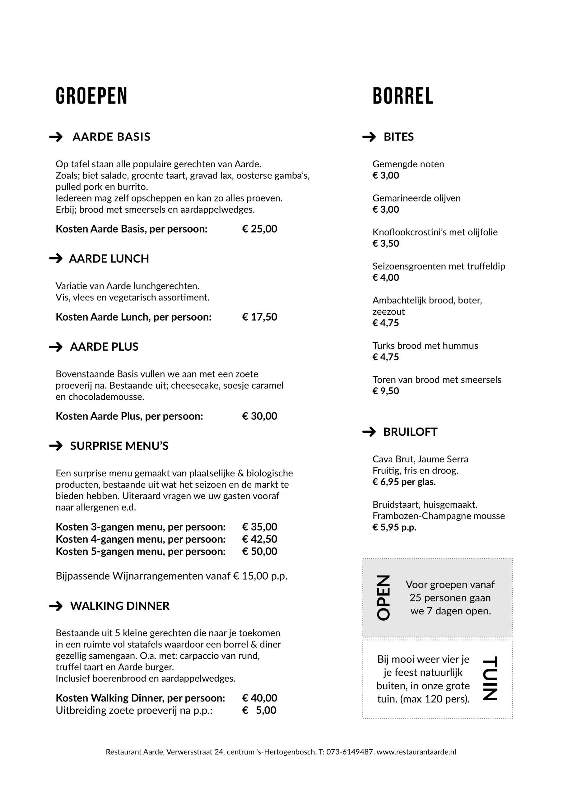 Groepen informatie restaurant aarde