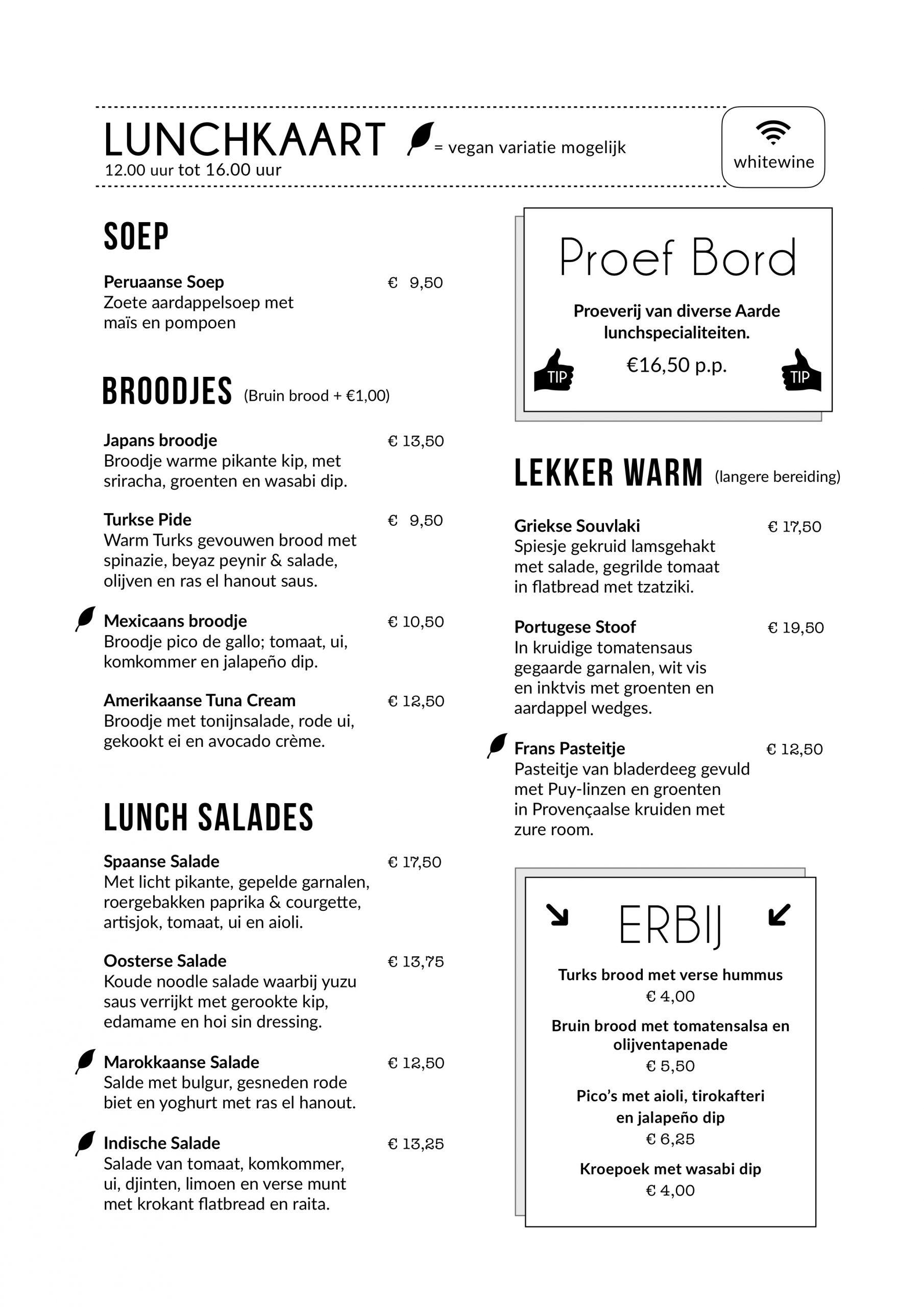 lunchkaart restaurant aarde