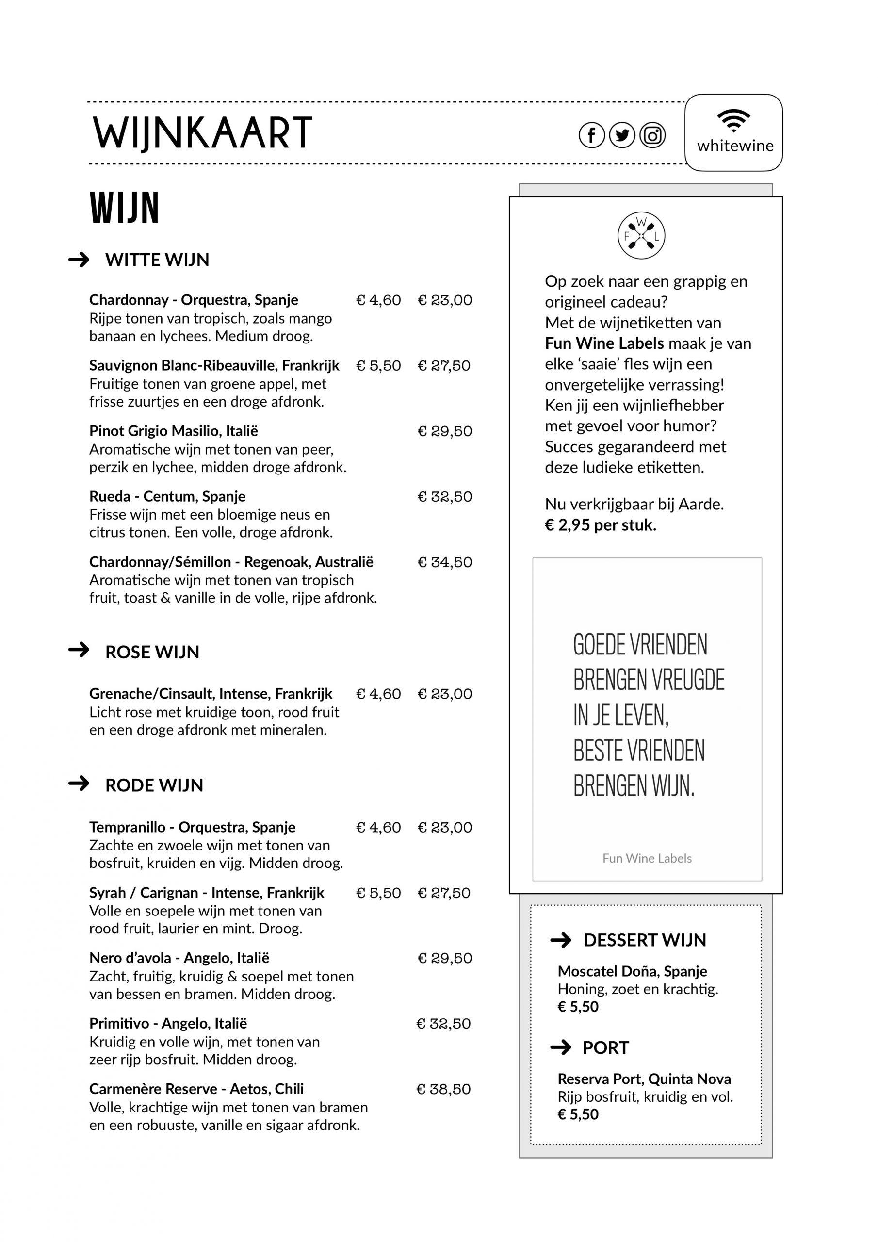 wijnkaart restaurant aarde